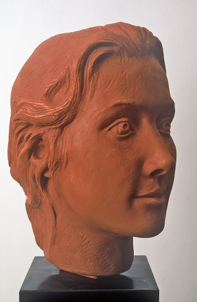 Terra Cotta  11 x 6 x 8 in. (Commission sold) Portraits modeled directly in clay or models can be cast then carved in stone.